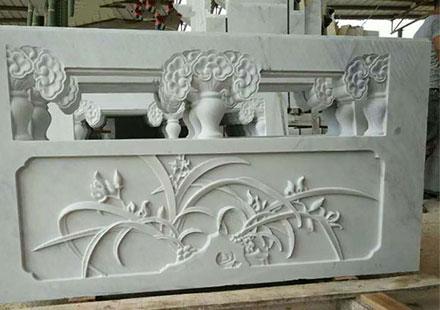 白玉兰花草石雕板