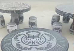 山西黑石材象棋圆桌(雕刻花纹-象棋盘)