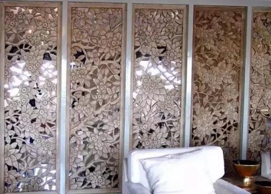客厅石材镂空背景墙