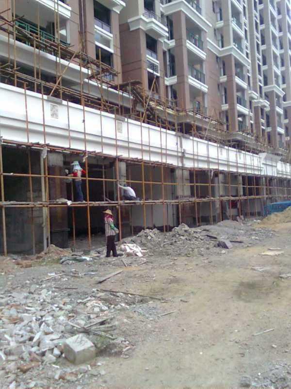 福寿红外墙干挂施工现场